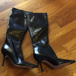 $965 Jimmy Choo black lambskin black leather boots